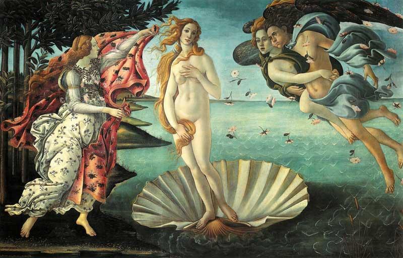 Una de las pinturas más famosas del mundo Nacimiento de Venus en Galeria Ufizi Florencia