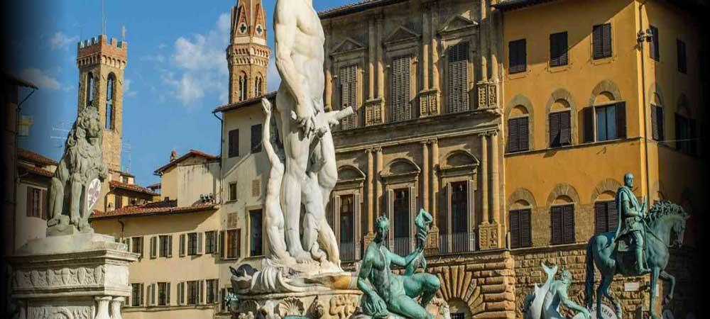 comer cerca de la Academia de Florencia