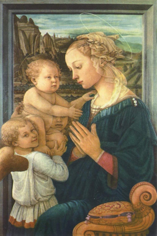 Virgen y el niño con dos ángeles